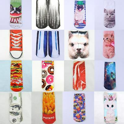 1 Pair New Casual Low Cut Ankle Socks Cotton Cat Dog 3D Printed Cartoon Unisex
