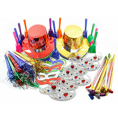 New Years Eve Ultimate Multi Colored Party Pack Kit for 25 People