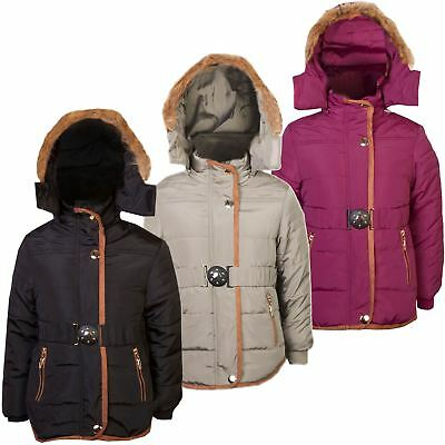 Girls Quilted Winter Coat Kids Detach Hood Padded Jacket Fur Lining Zip 3-14 Y