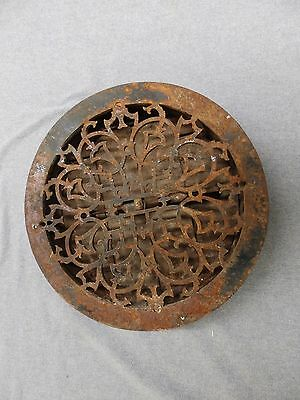 Antique Cast Iron 13 5/8 Round Floor Register Heat Grate Decorative Vent 5156-15