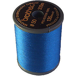 Brother satin finish embroidery thread. 300m spool BLUE 405