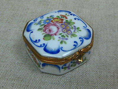 Vtg Antique French Limoges Hallmarked Six-Sided Dresser Vanity Box hinged