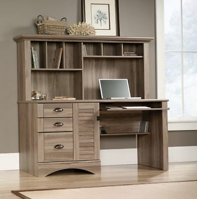 wood based home office rectangular writing desk hutch set