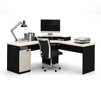 Bestar Hampton corner workstation in Sand Granite & Charcoal finish, 69430-4186