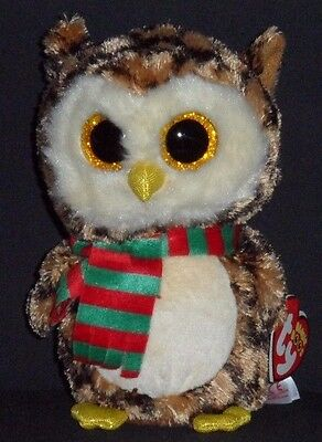 "TY BEANIE BOOS - WISE the 6"" HOLIDAY OWL - MINT with MINT TAG"