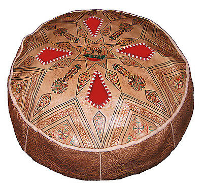 Leather Pouf hassock ottoman Moroccan Middle East footstool Poofs Pouffe Pooff
