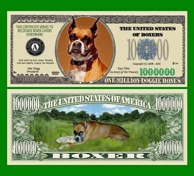 5 Factory Fresh Novelty Boxer Dog Million Dollar Bills