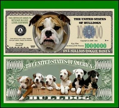 5 Factory Fresh Novelty Bulldog Million Dollar Bills