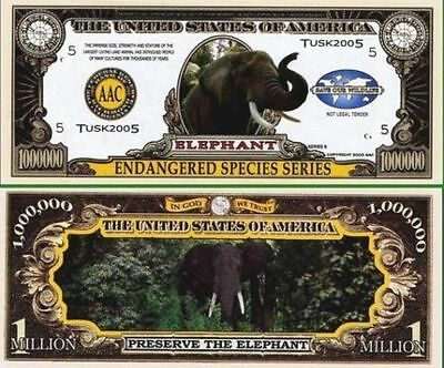 5 Factory Fresh Novelty Elephant Million Dollar Bills (Endangered Series)