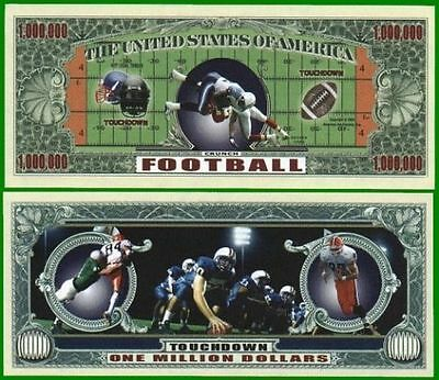 5 Factory Fresh Novelty Football Million Dollar Bills