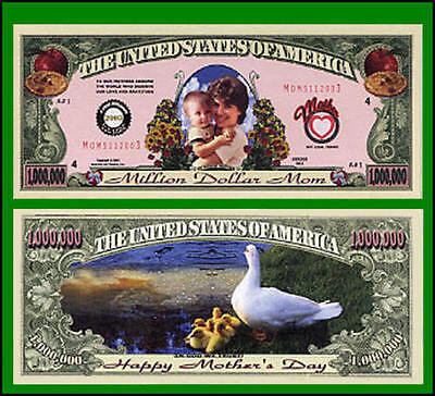 5 Factory Fresh Novelty Mother's Day Million Dollar Bills