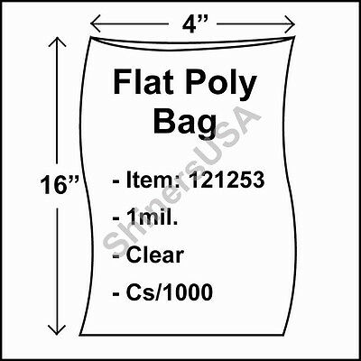 1000 1-Mil 4x16 Clear Poly Bag Open Top Lay Flat Long Packaging 121253
