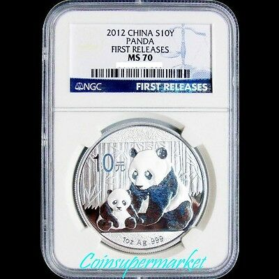 2012 China Silver 10 Yuan Panda 1oz Coin NGC MS70 First Realeases Blue Label !!!