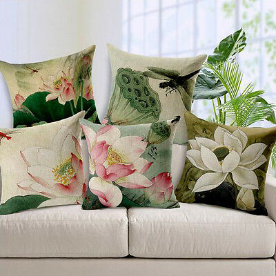 Vintage Linen Cotton Couch Sofa Cushion Cover Throw Pillow - Lotus 45X45 cm