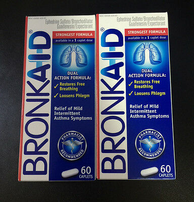 2 Bronkaid 120 Total 60 Caplets Relief Dual Action Formula Fresh 2017