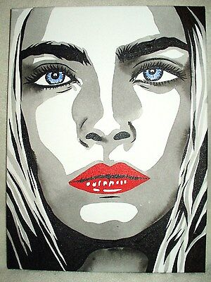 Canvas Painting Cara Delevingne Red Lips B&W Art 16x12 inch Acrylic
