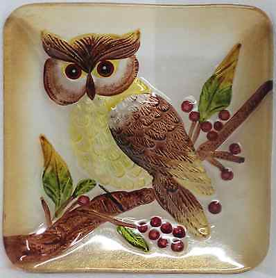 "Decorative Country Owl Concave Glass Plate 7.5""x7.5"" NEW Hoot Barn Screech"