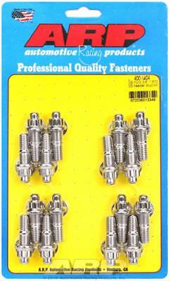 """ARP Header Studs 12-Point Nuts Stainless Polished 3/8""""-16 Ford V8 Set of 16"""