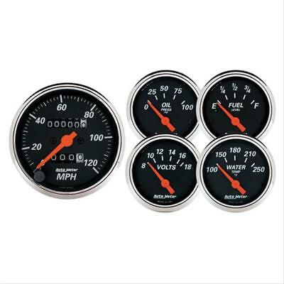 Autometer Gauge Kit Designer Blk speedo Water Temp Fuel Level Volt Oil 1420