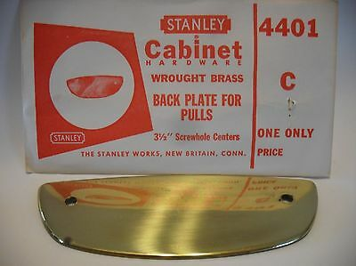 Vintage Mid Century NOS Wrought BRASS Drawer Pull BACK PLATES Stanley 4401-C