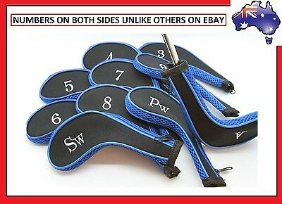 10 x BLUE BLACK ZIPPER GOLF IRON COVER HEAD COVERS with NUMBERS ON BOTH SIDES !