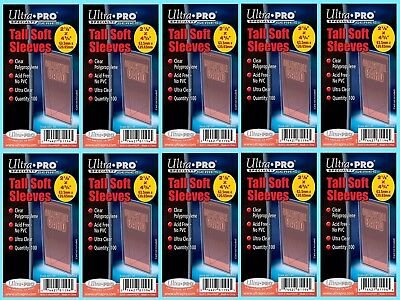 1000 ULTRA PRO TALL SOFT CARD Sleeves NEW Sports Widevision Gameday 3x5 Trading