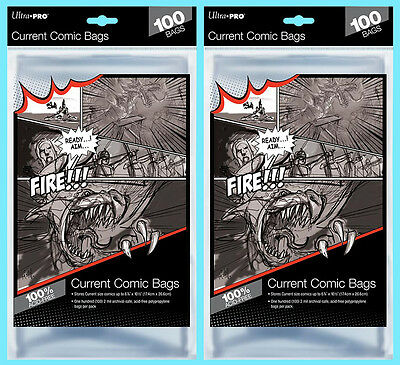 200 ULTRA PRO CURRENT SIZE COMIC BOOK BAGS New Modern Storage 6-7/8 x 10-1/2