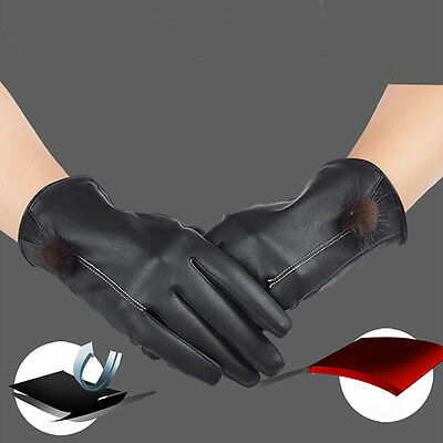 New Faux Leather Gloves Fashion Women Ladies Driving Winter Warm Mitten Gloves