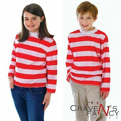 Kids Red and White Striped Top Girls Boys Book Day Wally Fancy Dress Costume