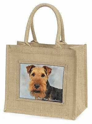 Welsh Terrier 'Love You Grandma' Large Natural Jute Shopping Bag C, AD-WT1lygBLN