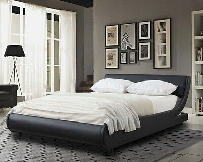 Griffin Italian Modern Designer Low Frame 4ft6 Double Black Faux Leather Bed