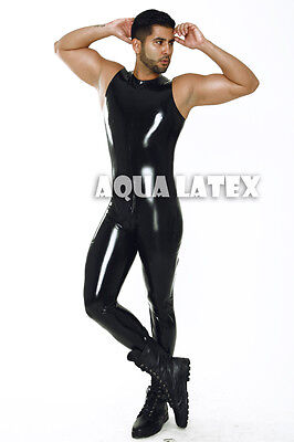 Tanked Smooth Suit 100% Rubber Latex Bodysuit Tank Wrestler Catsuit Men Leotard