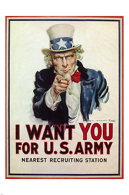 I WANT YOU FOR US ARMY vintage ad poster JAMES M. FLAGG U.S.A 1917 24X36 NEW