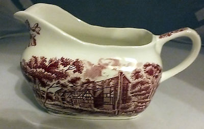 "Vintage Gravy / Sauce Boat  Grindley "" English Country Inns "" Red and white"