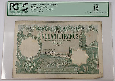 1920-38 4.3.1937 Algeria 50 Francs Note SCWPM# 80a PCGS Fine 15 Apparent