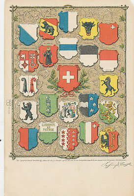 B4379 1905 Postcard Patriotic Switzerland Coat Of Arms
