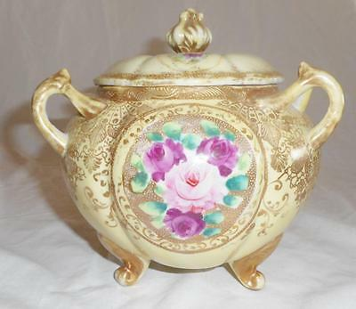 Gorgeous Hand Painted Triple Handled Rose Floral Ornate Gold Gilt Biscuit Jar