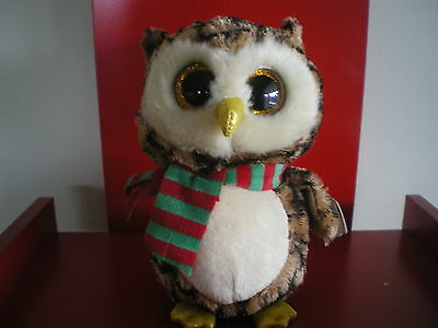 Ty Beanie Boos WISE the owl 6 inch NWMT. CHRISTMAS BOO. LIMITED STOCK