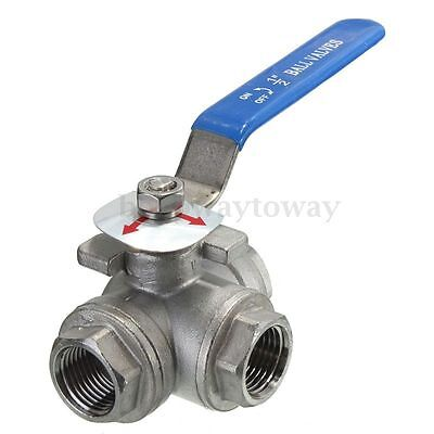 DN15 G1/2'' Female 3-Way L-Port 304 Stainless Steel Ball Valve Water Oil New