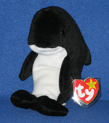 TY WAVES the ORCA WHALE BEANIE BABY with ECHO TAGS - ODDITY - NEAR MINT TAGS