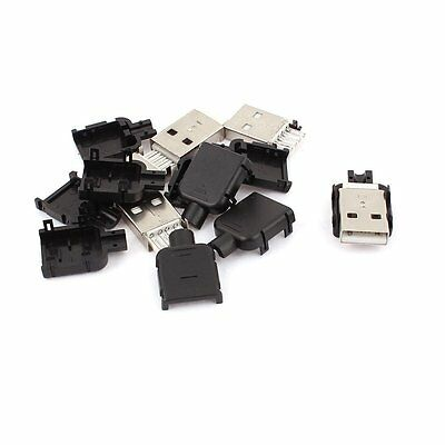 50Pcs USB2.0 Type-A Plug 4-pin Male Adapter Connector jack&Black Plastic Cover