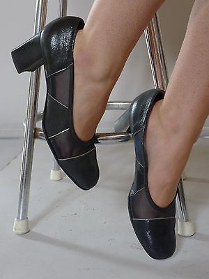 vintage retro true 90s 40 blue court shoes chunky heel excellent Emy Italy