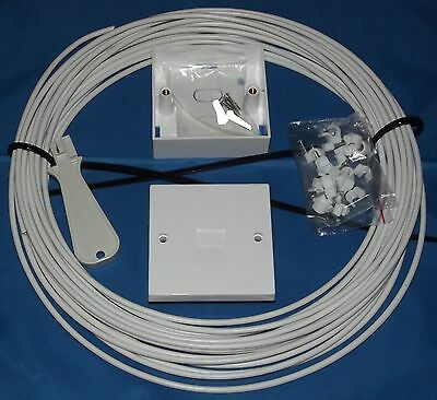 2 Pair CW1308 WHITE 30m Telephone Extension Kit: 2/3a Socket, Tool, Instructions