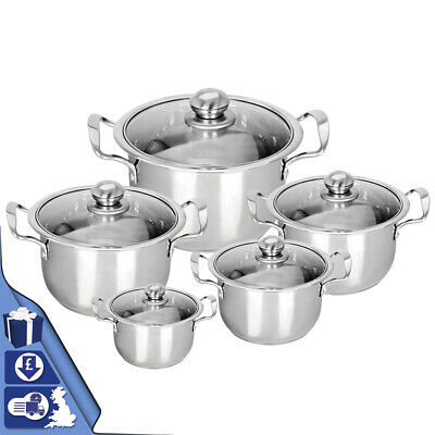 5Pc Hob Stainless Steel Cookware Casserole Stockpot Pot Set Glass Lids