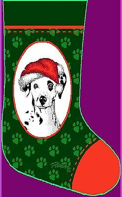 DALMATIAN DOG Cotton Tapestry Christmas Stocking Dalmatians Made in America New