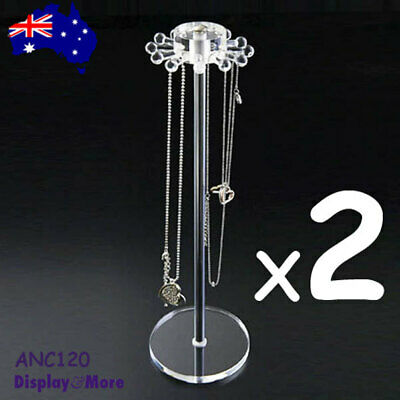 PREMIUM 2X Necklace Chain Display Stand-Stylish-Clear Acrylic | AUSSIE Seller