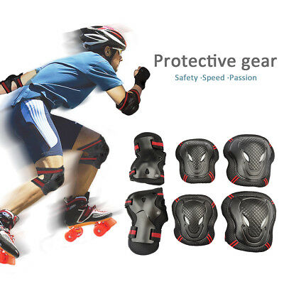 6 PCS Kid's & Adult Wristband Roller Blading Wrist Elbow Knee Pads Blades Guard