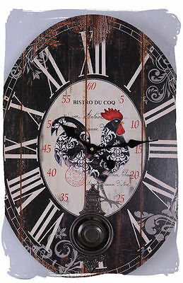 Pendulum Clock Country House Style Wall Clock Bistro Du Coq Provence Watch