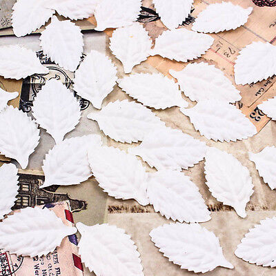White Leaves Leaf Scrapbook Craft Mulberry Paper Decoration Card DIY 45mm A1238