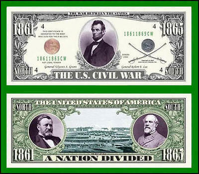 5 Factory Fresh US Civil War Novelty Bills